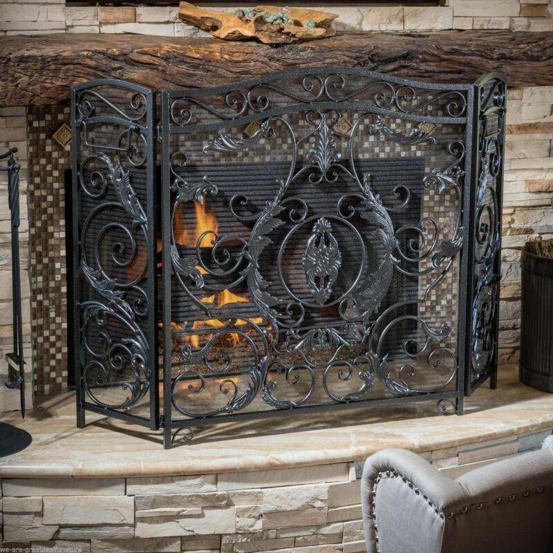 Waterbury Traditional Iron Fireplace Screen, Silver on Black