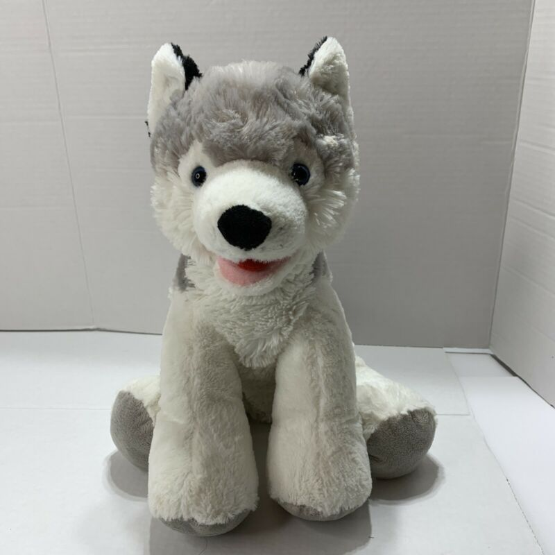 "Teddy Mountain Husky Dog Timber Wolf Gray & White Plush 12"" Stuffed"