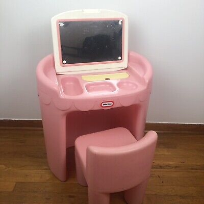 Vintage Little Tikes Play Made USA Plastic Childs Toy Pink Set Vanity Desk Chair