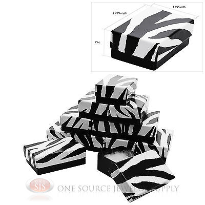 12 Zebra Print Cotton Filled Jewelry Gift Boxes Pendant Charm 2 58 X 1 12