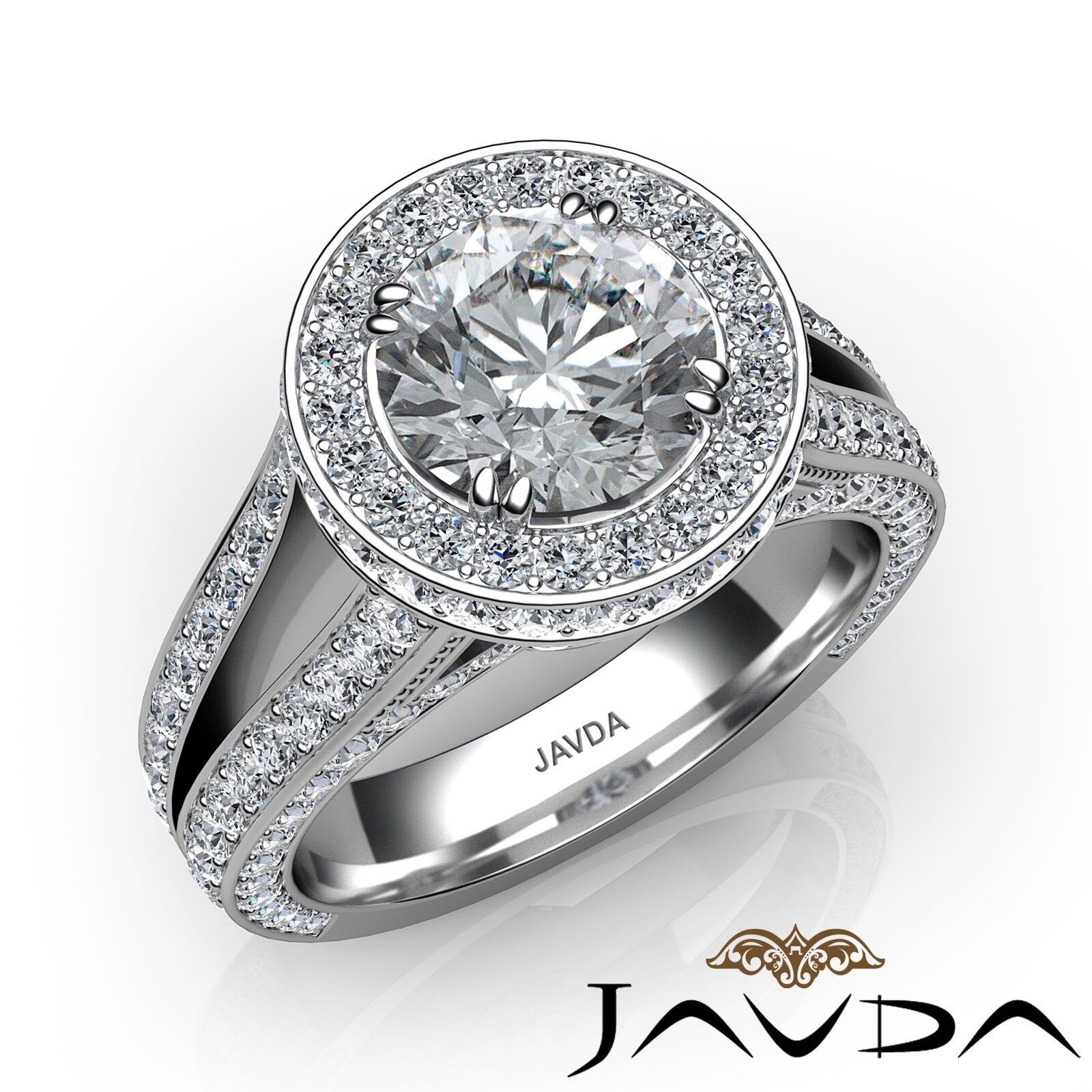 3.31ct Halo Pave Split Shank Bridge Round Diamond Engagement Ring GIA E-SI1 Gold