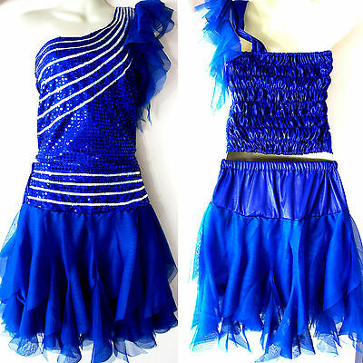 Kinder Mädchen Damen Cheerleader-Kostüm/Kleid Fasching/Cosplay Blau (Blauer Cheerleader Kostüm Kinder)