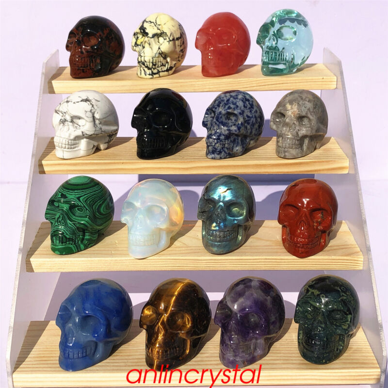 Top! wholesale Natural skull quartz crystal skull carved reiki healing 2