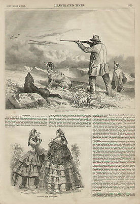 Bird Hunting Grouse Shooting Setter Dogs English 1855 Original Antique Art Print