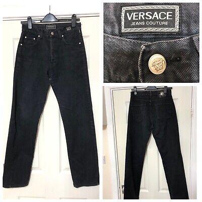 Versace Vintage Genuine Couture Denim Black Jeans 30/44 Women Fashion (A725)
