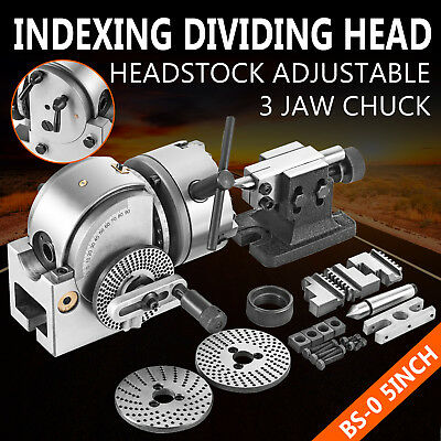 New Bs-0 Precision Dividing Head With 5 3-jaw Chuck Tailstock For Cnc Milling