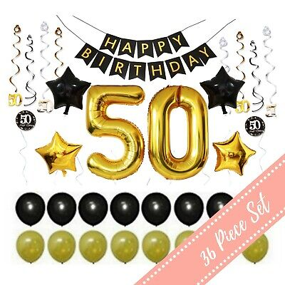 36Pcs 50th BIRTHDAY PARTY BALLOONS: DECORATIONS Supplies-50 Year Old Man Him/Her - 50th Party Decorations