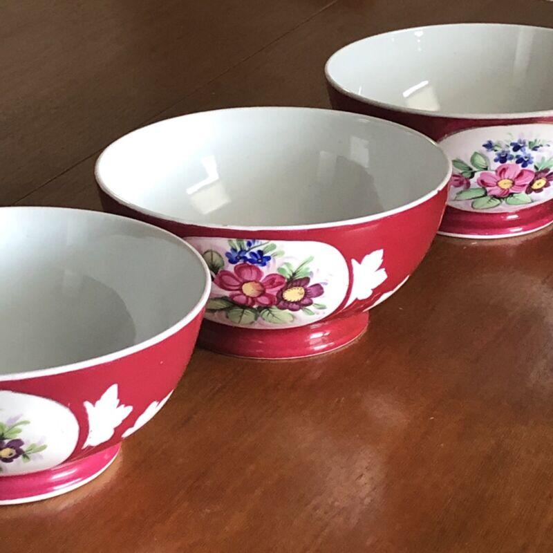 3 Antique 19th Century Imperial Russian Gardner Porcelain Bowls