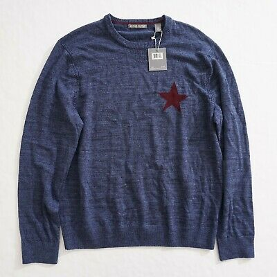 Michael Bastian Mens Crewneck Pullover Sweater Size Large Blue Red Star Wool