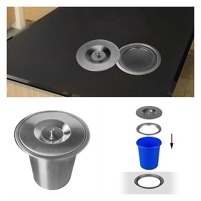 Edelstahl Einbau Abfalleimer Küche Arbeitsplatte Mülleimer Abfallsammler (Mülleimer Arbeitsplatte)