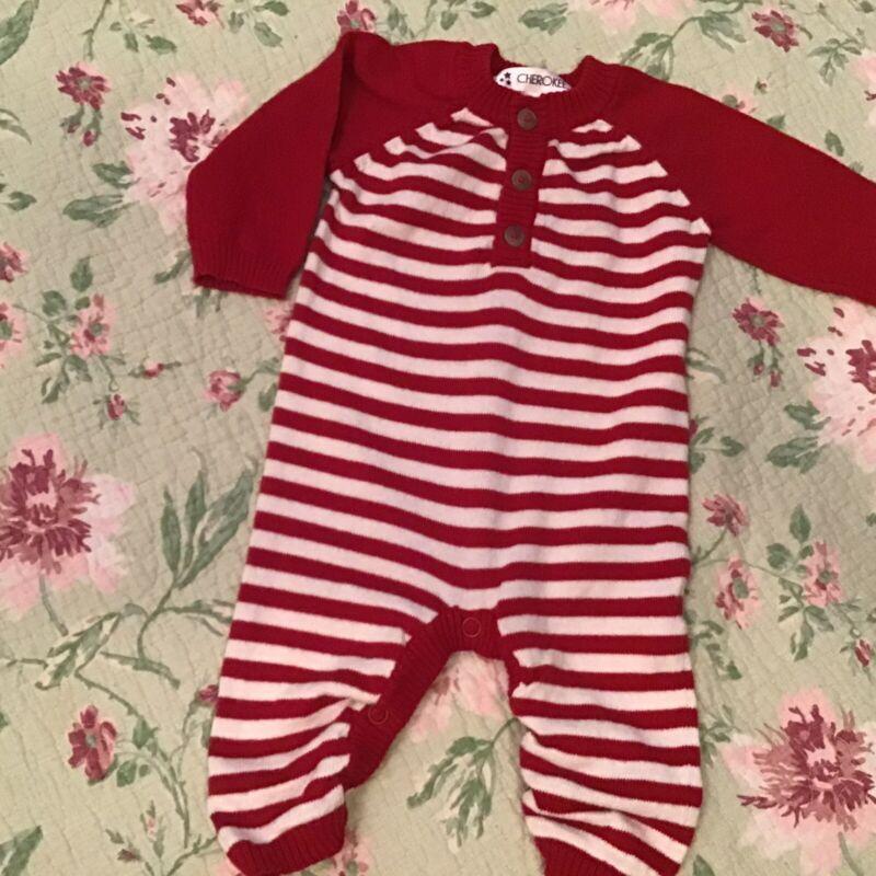 Cherokee Baby 1 Pc Red Stripe Sweater Longall  Size Newborn