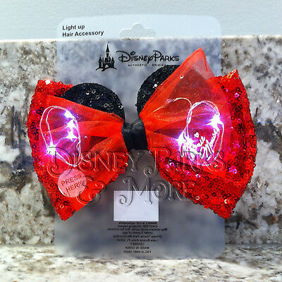 Disney Parks Interchangeable Ears Light Up Minnie Mouse Red Ears Bow](Minnie Mouse Bow Light Up)