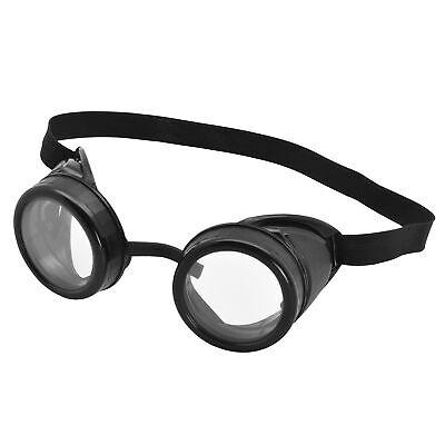 Steam Punk Pilot Goggles Black Frame With Glasses Wartime Fighter Fancy Dress