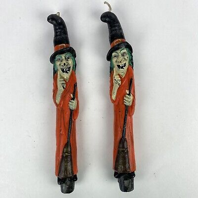 "Vintage Set of 2 Witch Halloween Sculptured 10"" Taper Candle Stick Candlesticks"
