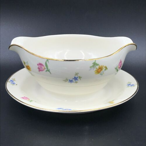 Pope Gosser Paula Gravy Boat with Attached Underplate Pink Blue Flowers Gold DH2