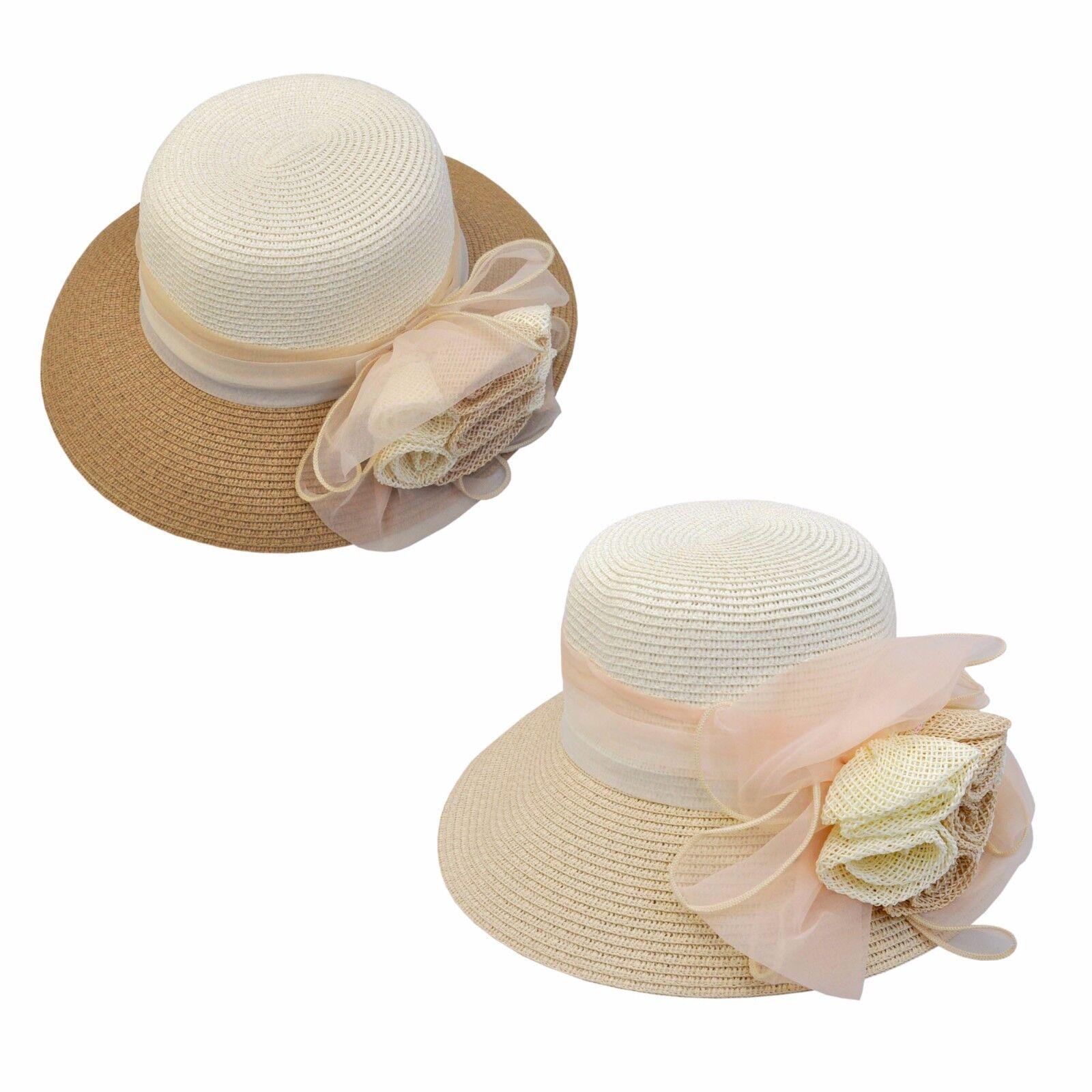 Hut Damen creme braun beige modern Jga Blume blüte Hochzeit Schleife Sommer