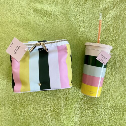 KATE SPADE New York Stripe Pink Yellow Blue White Lunch Tote