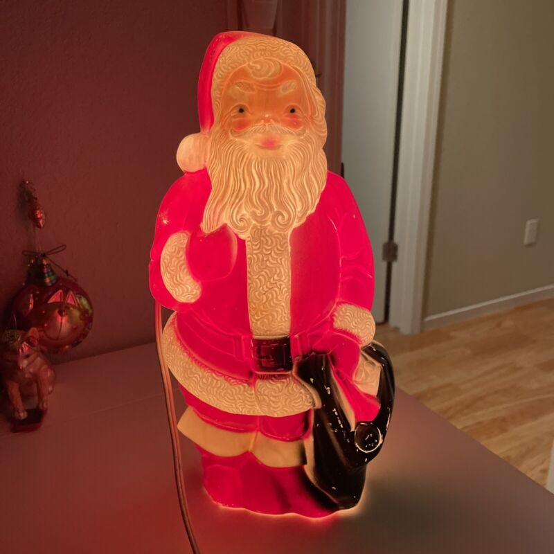 "empire plastics mini 13"" christmas santa blow mold Worn"