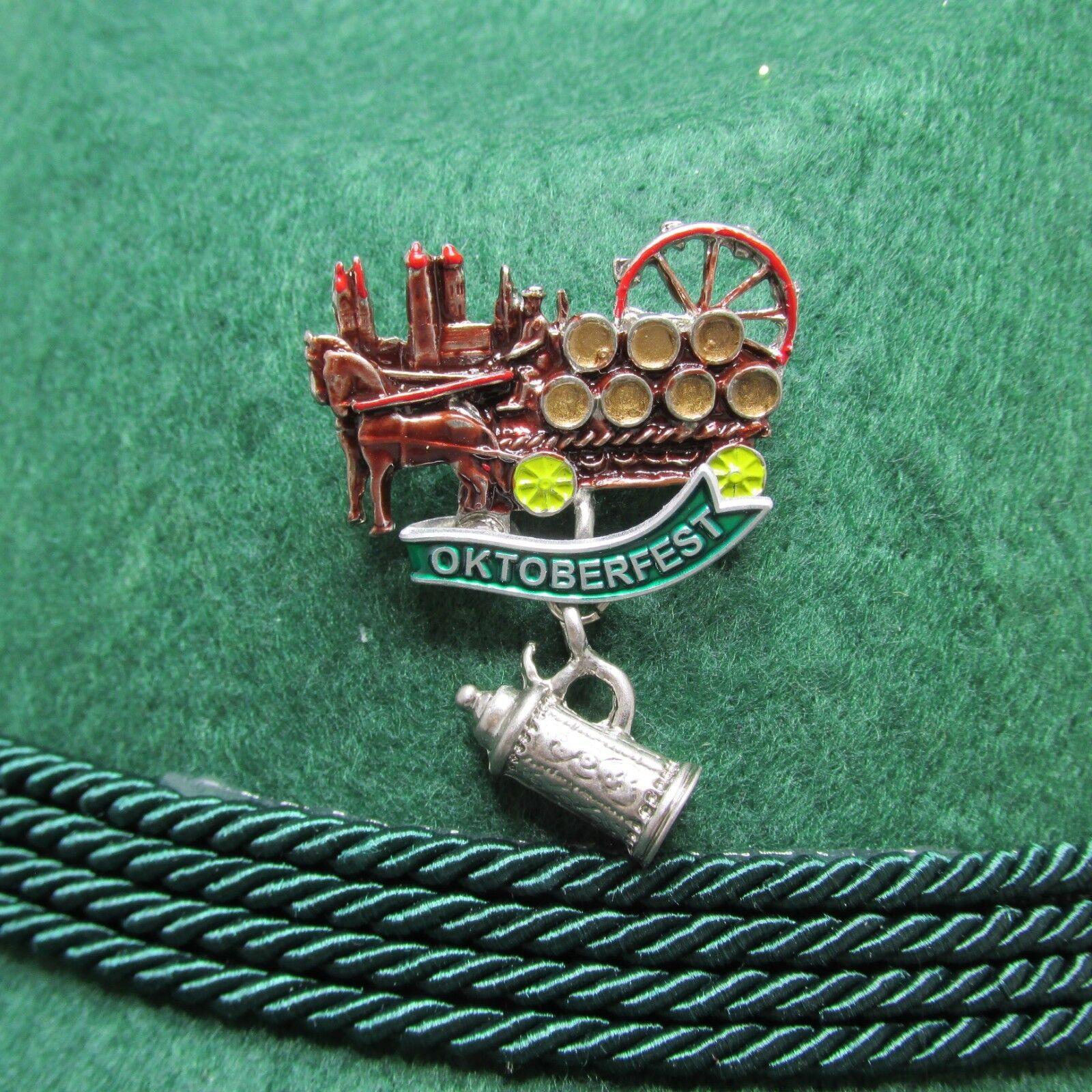 Oktoberfest Wagon with Beer Stein and Munich Scene Oktoberfest Hat Pin