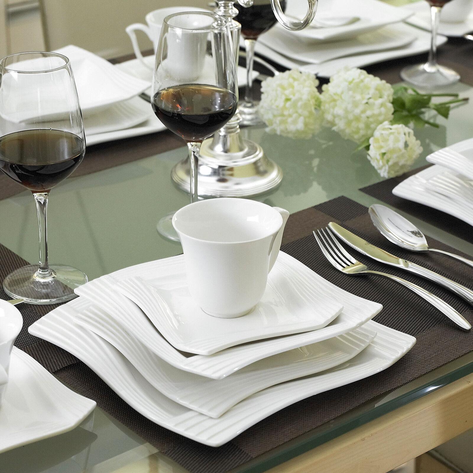 30pcs Square Porcelain Crockery Ceramic Dinner Service