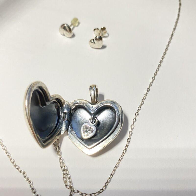 """sterling silver PANDORA heart locket, crystal inside,earrings 32"""" Chain"""
