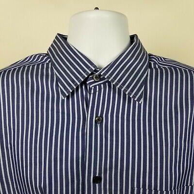IKE Behar New York Mens Blue Striped Dress Button Shirt Size XL