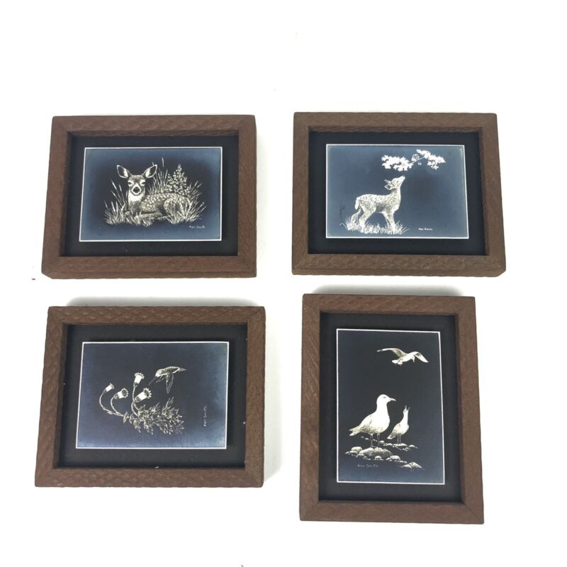 Ken Smith Photolithography Wildlife Minatures by (4) Bundle Vintage Rare Find