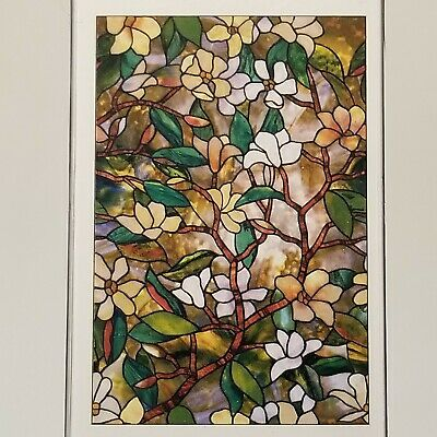 """New FLORAL Privacy Stained Glass Decorative Window Film Magnolia Decor 24"""" x 36"""""""