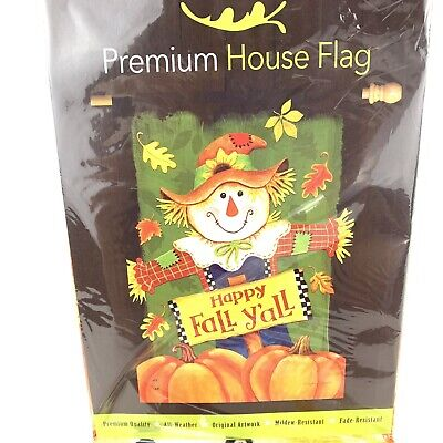 "Briarwood Lane Fall Y'all Scarecrow House Flag Pumpkins Leaves 28""x 40"" Nip"