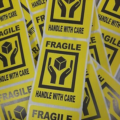 Fragile Handle With Care Yellow Stickers 2 X 3 Pack Of 50 Not On Roll Ship
