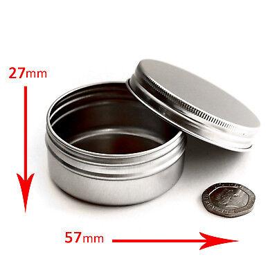10 x 50ml Aluminium Tins Empty Sample Travel Screw Top Pots Jars *BEST BUY jla10