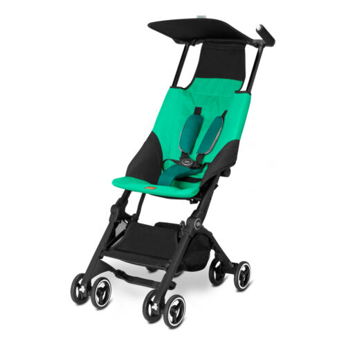 Pockit Go Plus Stroller Bundle w/ Reclining Seat Fabric + Infant Carrier Laguna