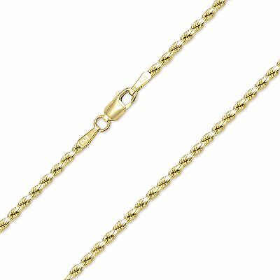 - 10K Yellow Gold Hollow Diamond Cut Rope Necklace Chain 2mm 16-30