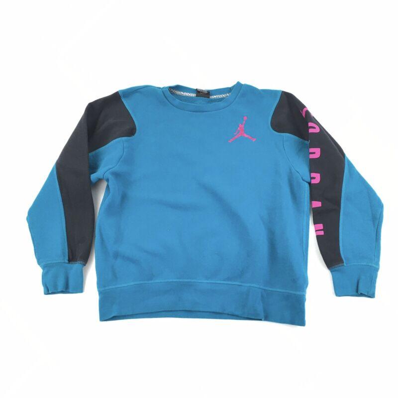 Nike Air Jordan Crewneck Sweatshirt Youth Girls Large Blue Embroidered Logo