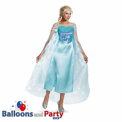 Adult's Deluxe Disney Princess Frozen Elsa Snow Queen Fancy Dress Party (Elsa Frozen Adult Kostüme)