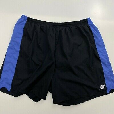 NEW BALANCE MEN'S BLACK/BLUE RUNNING SHORTS SIZE XL B13-37
