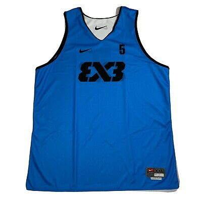 Nike FIBA Team 3x3 Blue White AR0651-012 Reversible Basketball Jersey Size 2XL