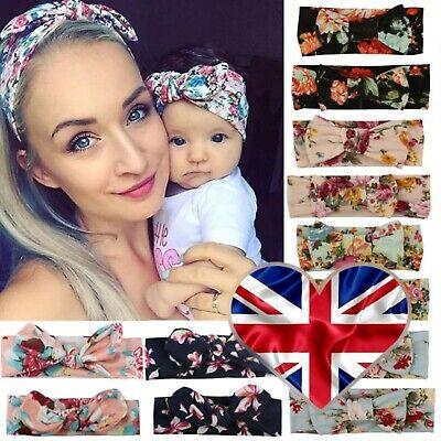 2psc Mama Baby Headwear Bowknot Elastic Headbands For Women Children Accessories