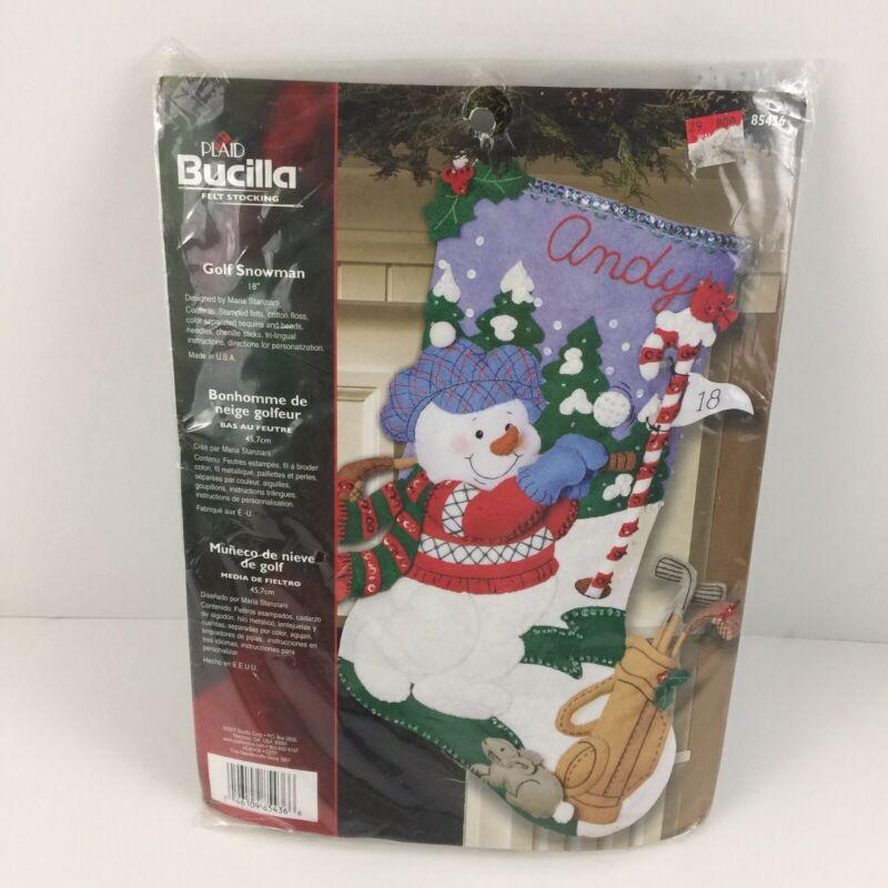 "BUCILLA Christmas Stocking Felt Craft Kit 18"" Snowman Golf 85436 Holiday New"