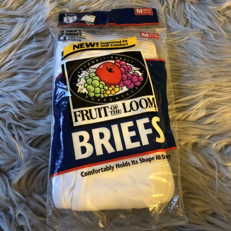 New Vintage Fruit of the Loom Briefs 3 Pack 1996 Size Medium 34-36 DEADSTOCK