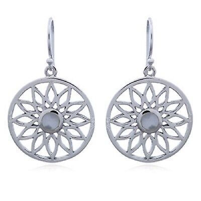 mother of pearl earrings on genuine 925 sterling silver round flower design new