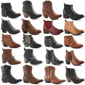 WOMENS-LADIES-WESTERN-CUBAN-HEEL-LEATHER-STYLE-VINTAGE-COWBOY-ANKLE-BOOTS-SIZE
