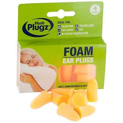Hush Plugz Foam Ear Plugs - 4 Pair Pack (FREE UK P&P)