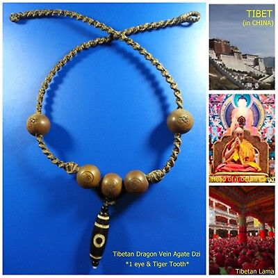 Rare! TIBETAN PRAYER DZI BEAD Guanyin Buddha Amulet Pendant Necklace ,>2,000Yrs.