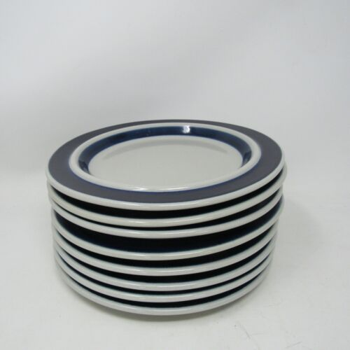 "Vintage ARABIA Finland Blue 7 3/4"" Blue Stripe Salad Plate"