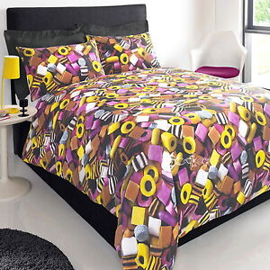Liquorice allsorts sweets double duvet cover bed set bedding candy new gift ebay Home and furniture allsorts