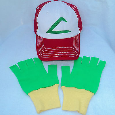Pokemon Ash Trainer Halloween Fabric Hat and Gloves Set Green/Yellow Choose Size](Green And Yellow Gloves)