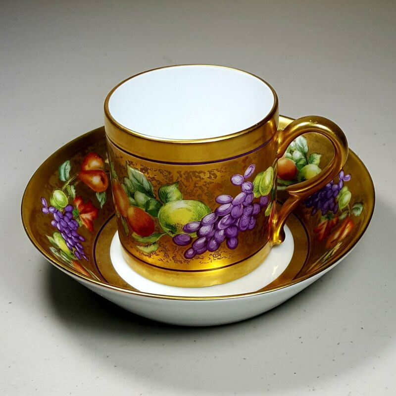 Ancienne Manufacture Royale Limoges Botticelli Pattern Cup and Saucer