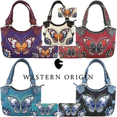 Western Style Butterfly Handbag Concealed Carry Purse Women Shoulder Bag Wallet