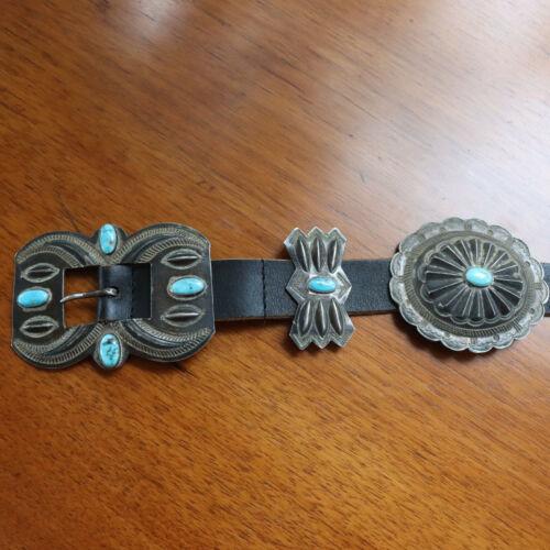 Art Deco Navajo 800 - 925 Silver Kingman Turquoise Concho Belt and Buckle c1940